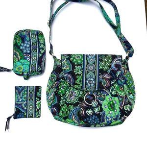 Vera Bradley 3pc Blue Rhapsody Saddle Up Bag Set